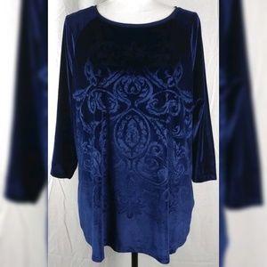 Chico's Blue Velvet Pattern Print Blouse 3